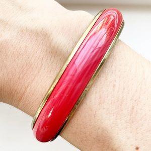 Vintage gold & fuchsia enamel bangle bracelet